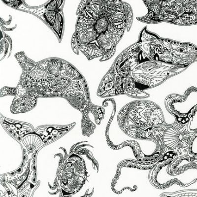 Black and White Animal Spirits Toile