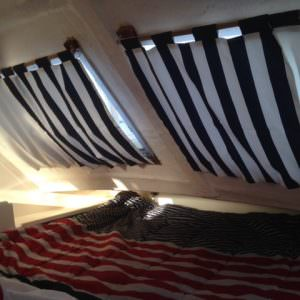 Floating Boat Curtains - Black and White Stripes with Black Tabs