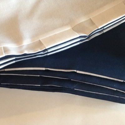 Catalina 30 Sailboat Modern Tab Curtain Set - Navy With Navy Tabs