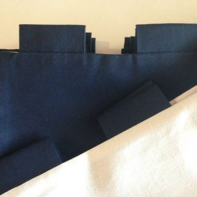 Catalina 22 Sailboat Modern Tab Curtain Set - Navy With Navy Tabs