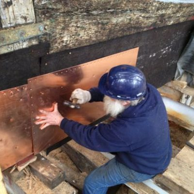Copper Cladding going over Ship's Felt