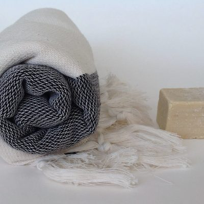 Elegant Organic Turkish Towel, Peshtemal, bath, spa, hammam, Natural Sof cotton, Gift for father, father's day, Handwoven, Black