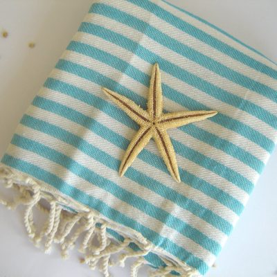 Best Quality Turkish Towel, Peshtemal, Beach towel, bath towel, hammam towel, yoga, Spa, Sarong, Pareo, Aqua Striped