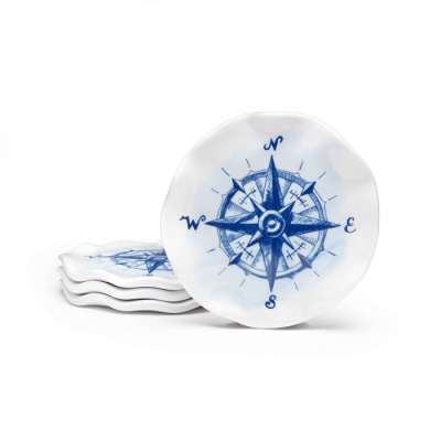 Q Squared NYC Portsmouth Nautical Sail Away S/4 Melamine Coasters
