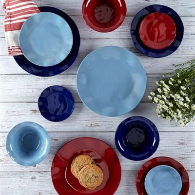 Q Squared NYC Ruffle in Mist Blue 12pc Melamine Dinnerware Set