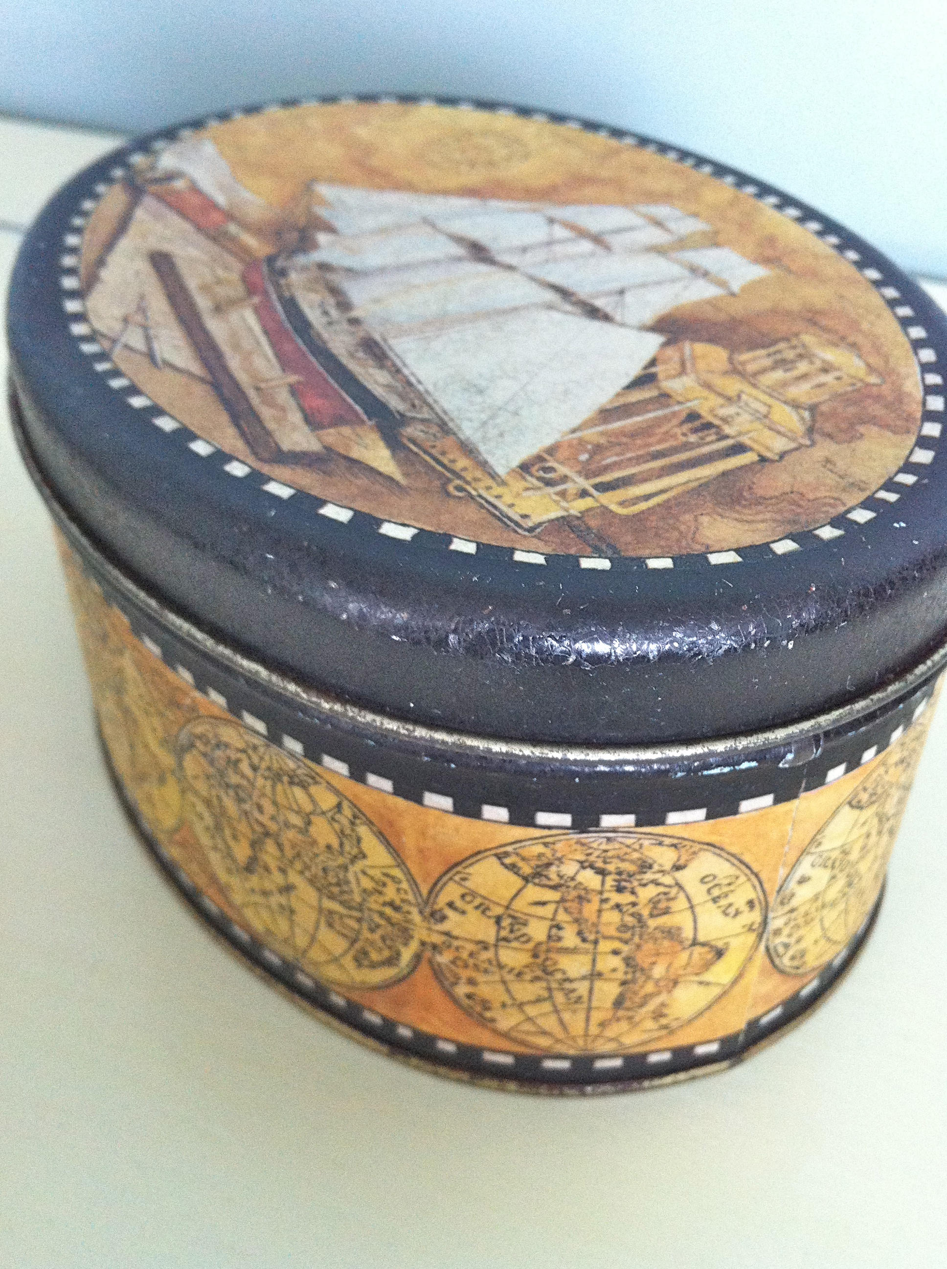 Vintage Keller Charles Tin Container/Old World Globe Tin Container/Vintage  Ship Container/