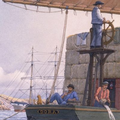 """Hayscow """"Dora"""" off Alcatraz, 1887, passing the quarantine anchorage and square-rigged ship """"Balclutha""""."""