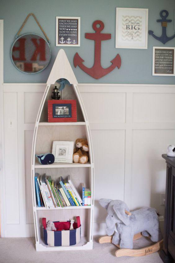 5 Foot Blue Row Bookshelf Bookcase Shelves Skiff Schooner Canoe Nautical Dorey Kids Room Wooden Boat