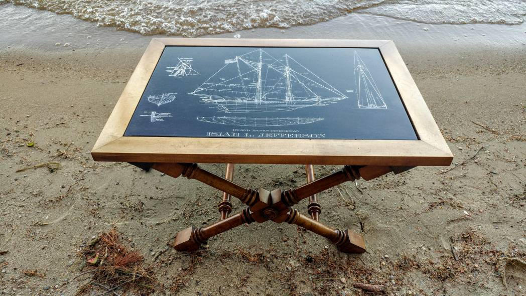 Vintage isiah l jefferson grand banks schooner etching blueprint vintage isiah l jefferson grand banks schooner etching blueprint slate coffee table malvernweather Gallery