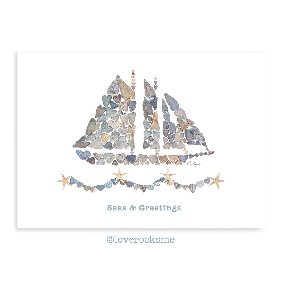 Seas Greetings Card Christmas Love Nautical Holiday Card Beach
