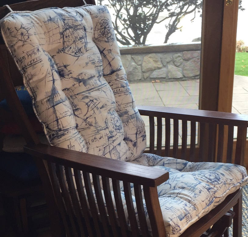 Glider Or Rocking Chair Cushions Set In Navy Blue White Nautical Schooner Ocean