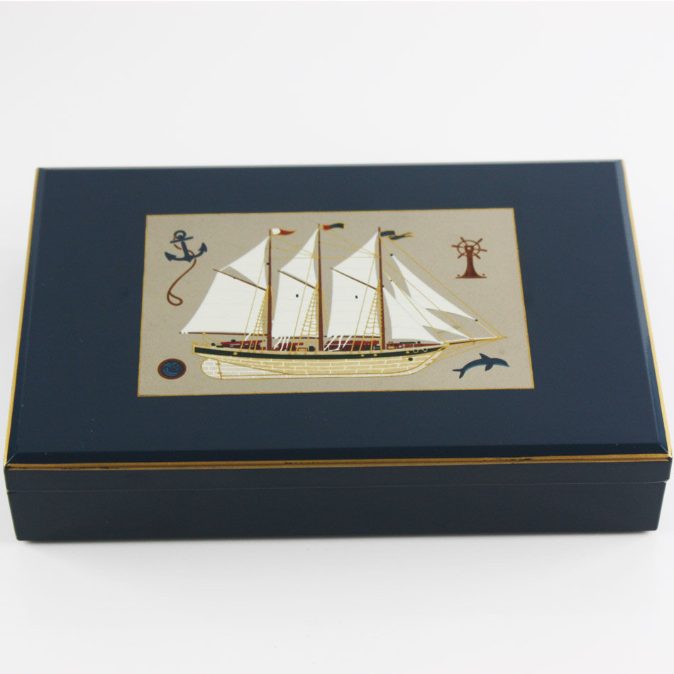 1970s Otagiri Sailing Ship Lacquer Trinket Box, Vintage Dark Blue Nautical  Jewelry Box, Keepsake
