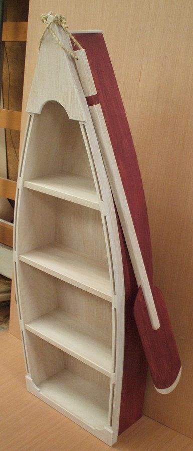 5 Foot RED Row Boat Bookshelf Shelf Bookcase Shelves Skiff Schooner Dory Canoe Nautical Man Cave