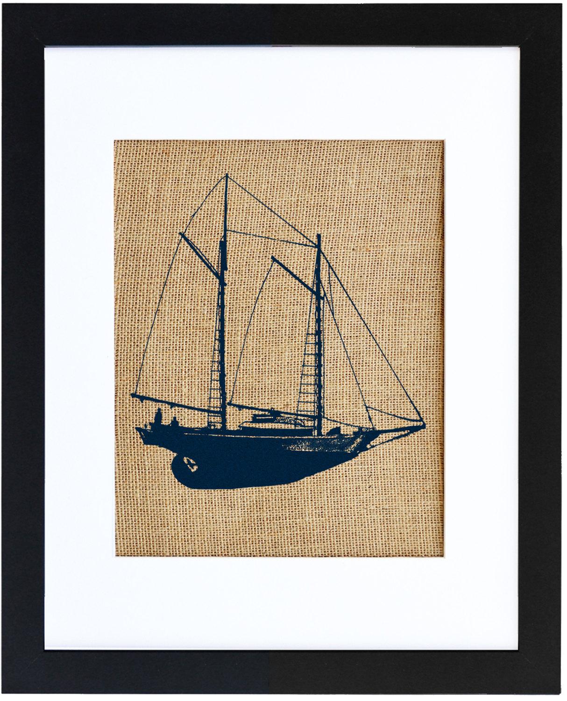 Schooner Wall Art, Burlap Print, Nautical Print, Burlap Decor ...