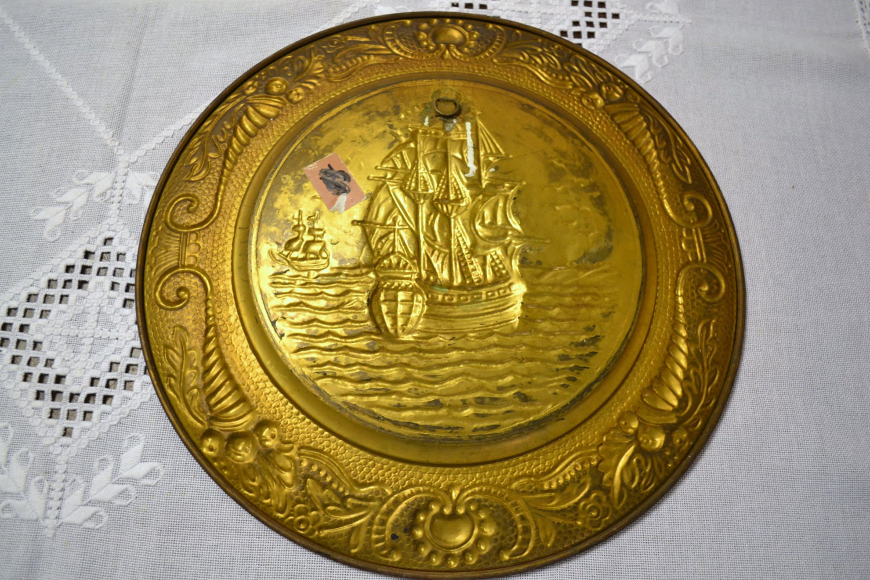 Vintage Brass Sailing Ship Decorative Wall Hanging Mid Century Decor ...