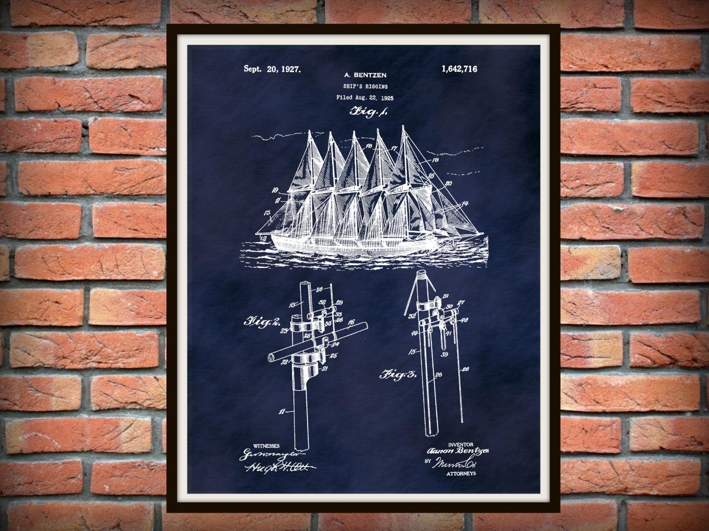 Patent 1925 Ship Rigging Sails   Art Print   Poster Print   Nautical Wall  Art