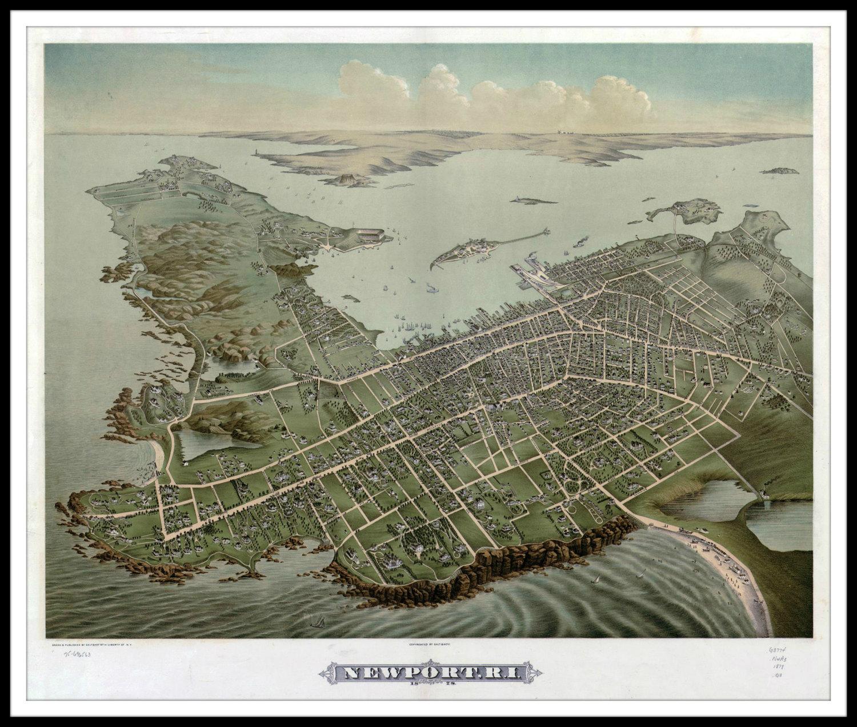 Birds Eye Map Of Newport Rhode Island NOT A POSTER Fine - Framing a map print