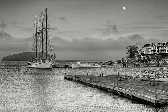 Nautical Photography Maine Bar Harbor Seascape Fine Art Black