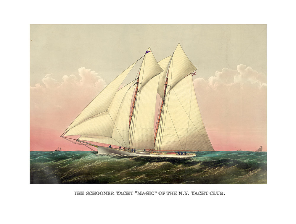 Vintage Sailboat Art Reproduction - Schooner Yacht \
