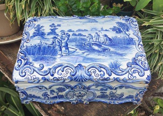 Delfts Blauwe Tegels : ≥ mosa delfts blauwe tegels set van boutiquemodo vintage